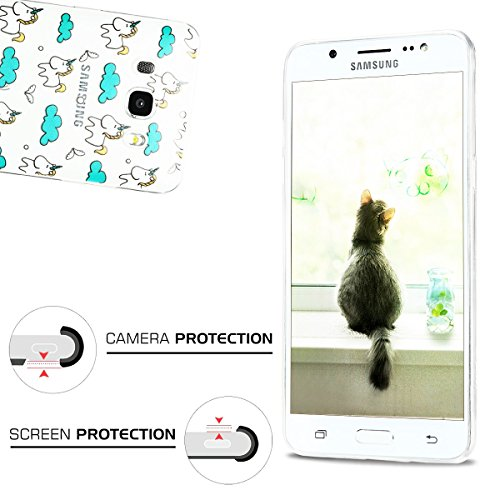 Funda Galaxy J5 2016, CaseLover Carcasa Transparente Suave Silicona TPU para Samsung Galaxy J5 2016 J510 (5.2 Pulgadas) Ultra Delgado Flexible Gel Protectora Cubierta Resistente a los Arañazos Tapa Li Unicornio