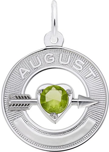 (Rembrandt Synthetic Crystal Simulated Birthstone Charms Collection - August - Metal - Sterling Silver )