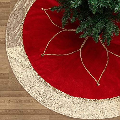 Valery Madelyn 48 Luxury Red and Gold Christmas Tree Skirt with Flower Design,Themed with Christmas Ornaments (Not Included)