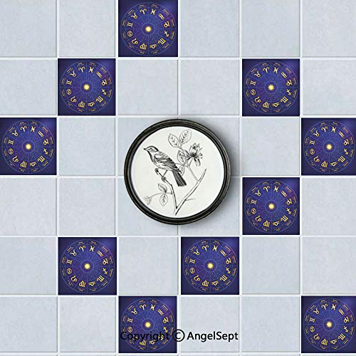 Fashion Waterproof PVC Tiles Sticker,Horoscope Zodiac Signs with Birth Dates in Circle with Star Dots Royal Blue and Yellow,8x8inch(20PCS),Easy to Install DIY (Horoscope By Date Of Birth Time And Place)