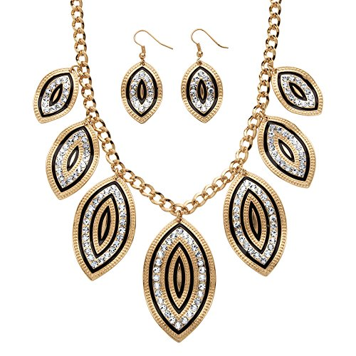 Palm Beach Jewelry Black Enamel and Simulated White Crystal Gold Tone Leaf Motif Necklace and Earrings Set 18""