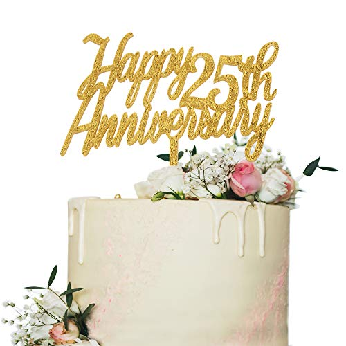 - Happy 25th Anniversary Cake Topper,Gold Glitter Cheers to 25 Years Sign,25th Birthday/Wedding Anniversary Party Decorations