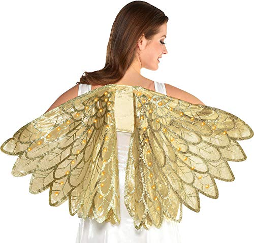 amscan Light-Up Gold Wings Halloween Costume Accessories for Women, One Size
