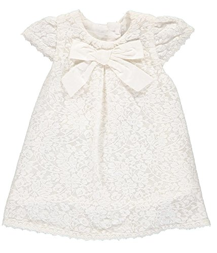 Carriage Boutique Baby Girl Classic Lace Dress - Elegant Cream Bow, - Lace Carriage