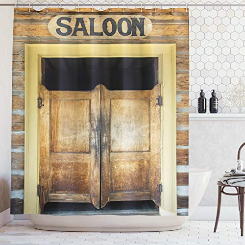 Ambesonne Saloon Decor Collection, Authentic Saloon Doors Of Old Western Building In Montana Ghost Town Image Print, Polyester Fabric Bathroom Shower Curtain Set with Hooks, Sienna Cream Brown ()