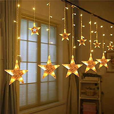 Star Window Curtain Lights Indoor, 7.2Ft 108 LEDs Christmas String lights Outdoor with Remote Control, Window Fariy Light Indoor Decorative for Party Wedding Bedroom Garden Low Voltage Malivent