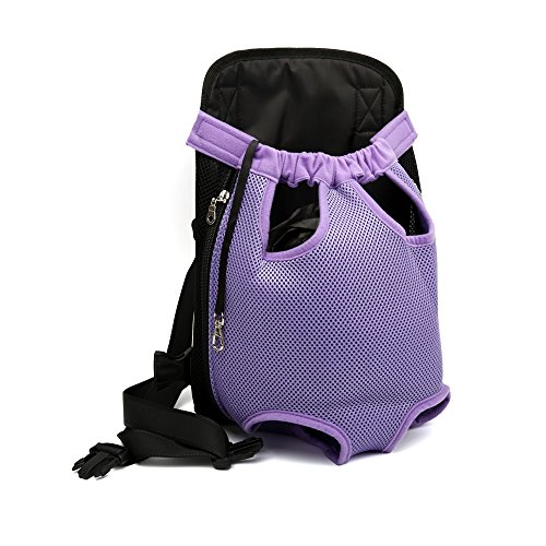 CLLUZU Cat Bag Front Dog Carrier Breathable Mesh Elastic Neckline Puppy Backpackt Pet Supplies Purple