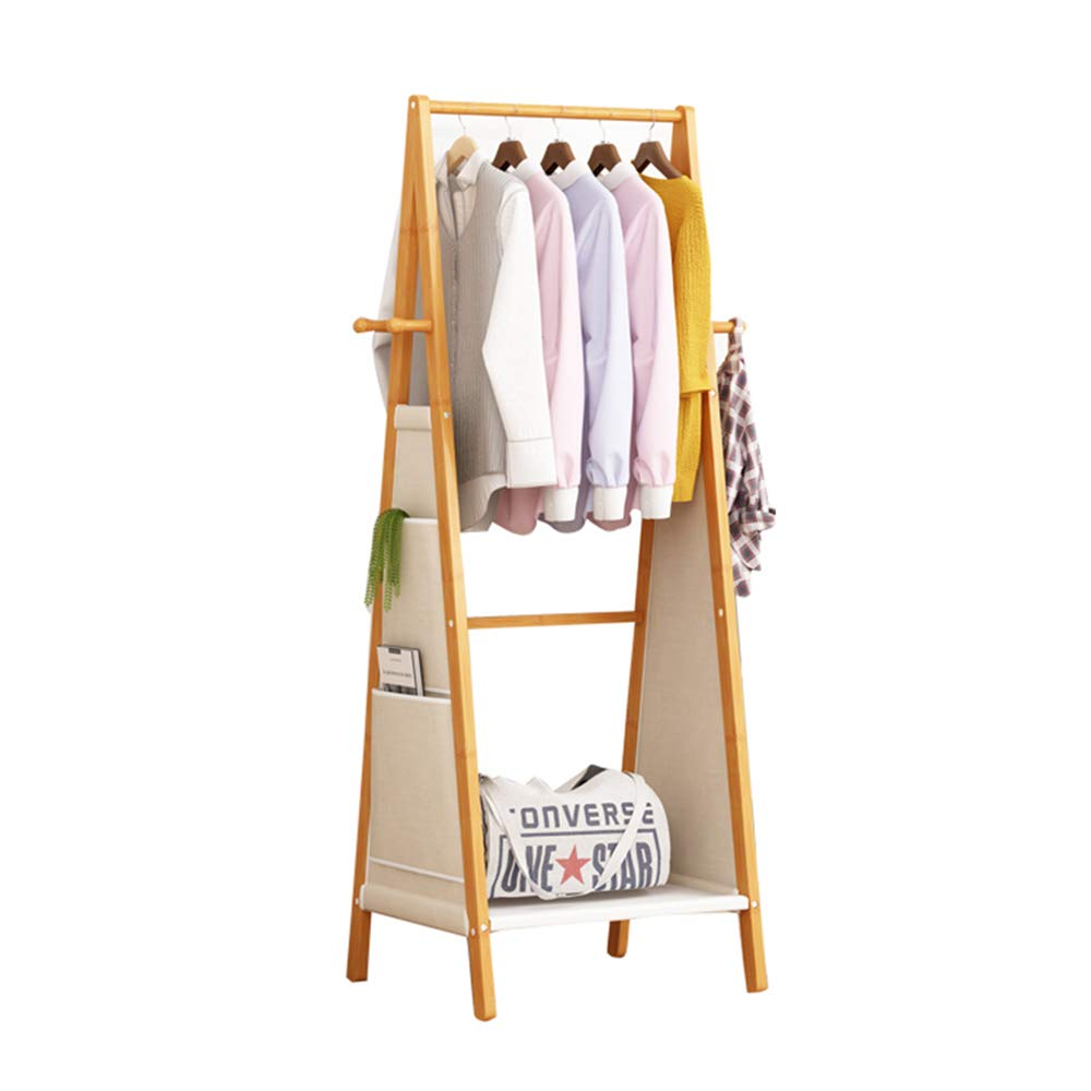 Byx- Wooden Coat Rack,3 in 1 Bamboo Coat Stand Hanging Clothes Shoe Storage Shelves Garment Rack Storage Bag [3 Size Optional] -Clothes Drying Rack (Size : 100x51x153CM) by Byx-