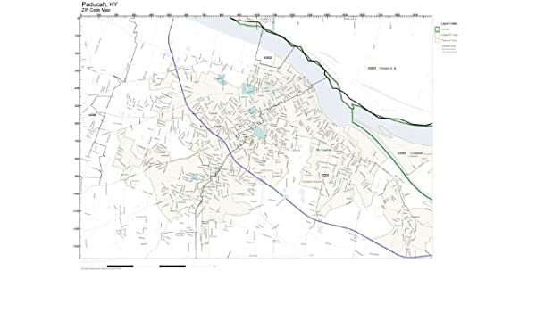 Amazon Com Zip Code Wall Map Of Paducah Ky Zip Code Map Laminated