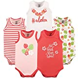 Luvable Friends Baby Infant 5-Pack Lightweight Sleeveless Bodysuits, Aloha, 12-18 Months