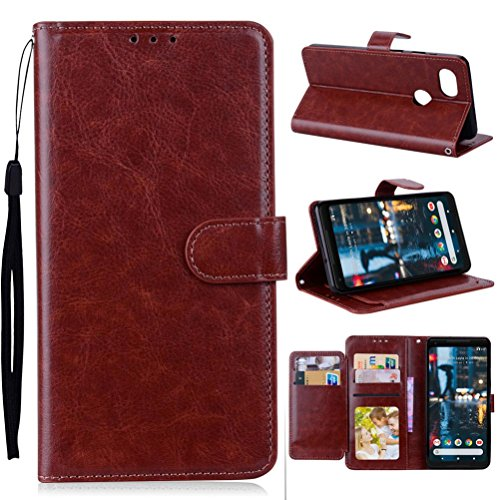 Price comparison product image Mchoice For Google Pixel 2 XL Case Luxury Leather Magnetic Flip Card Case Stand Cover (Brown)