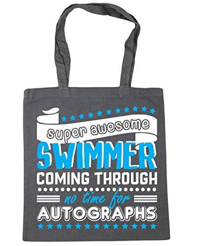 HippoWarehouse Super Toll Schwimmer Coming Durch No Time Für Autogramme Einkaufstasche Fitnessstudio Strandtasche 42cm x38cm, 10 liter - Graphitgrau, One size