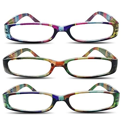 (3 Packs Reading Glasses Rainbow Stripes Fashion Ladies Readers Colorful Reading Glasses (2.5))