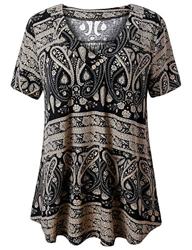 (FOLUNSI Women's Plus Size Foral Printed Short Sleeve Henley V Neck Pleated Casual Flare Tunic Blouse Shirt Multi Black 2XL)