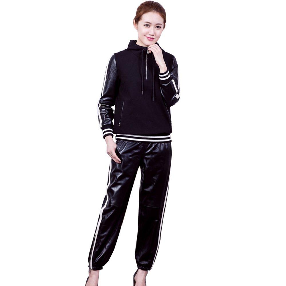 Jiashibao Real Sheep Women Black Hooded+Pants Sweatsuit (L, Black)