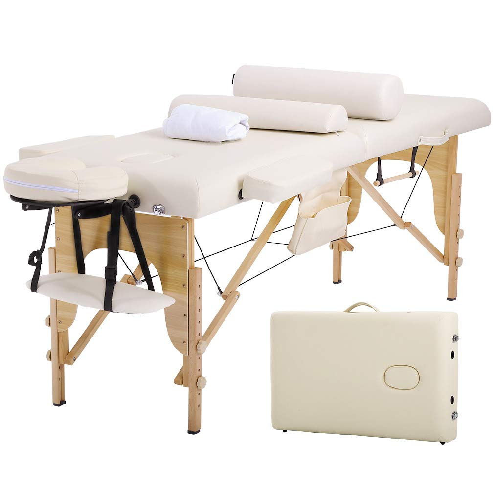 Massage Table Massage Bed Spa Bed 73 Inches Long Height Adjustable W Sheet Cradle Bolster Portable 2 Folding Massage Salon Table Hanger Facial Tattoo Salon Bed