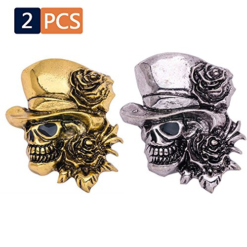 Lady Face Head Pin - 2PCS Skull Pins ,  Women's & Men's Mini Mental Alloy Lapel Stick Skeleton With Hat Shape ,  Vintage Novelty Head Face Halloween , Wedding  And Party Props For Suit Tuxedo , Jacket , Shirt ,  Tie Gold