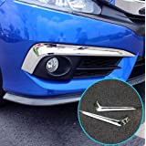 For Honda Civic 2016-2018 Chrome Front Fog Light Lamp Bumper Eyebrow Cover Trim