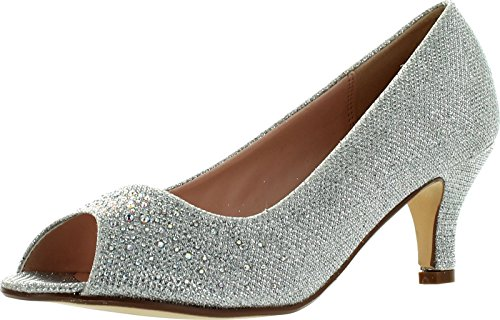 Bonnibel Wonda-2 Womens Peep Toe Low Heel Glitter Slip On Dress Pumps,Silver,5