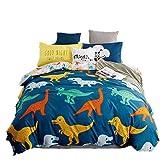 KFZ 4pcs Kids Beddingset Duvet Cover Set Duvet Cover No Comforter Flat Bedsheet Pillowcase Twin Full Queen Naughty Pig Love Cat Dinosaur Family Design (Dinosaur Family, Blue, Twin, 59''x79'')