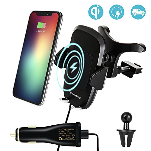 3-in-1 Fast Wireless Charger Car Mount Air Vent Stand with Dual USB Car Charger, Phone Holder Charging Pad for iPhone X, Samsung Galaxy S8, S8 Plus, S7 Edge, S7, S6 Edge Plus, Note 8, Note 5 - Black