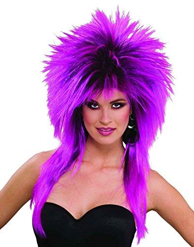 Female Rocker Costumes (Forum Novelties Women's 80's To The Maxx Spiky Rocker Wig Pizazz, Purple, One Size)