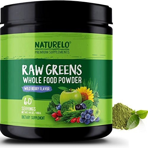 NATURELO Raw Greens Superfood Powder – Best Supplement to Boost Energy, Detox, Enhance Health – Organic Spirulina & Wheat Grass – Whole Food Vitamins from Fruit & Vegetable Extracts – 60 Servings