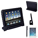 HDE iPad Air 2 Shock Proof Case Bundle for Kids Foam Bumper Cover Child Handle Stand + Stylus Screen Protector for Apple iPad Air 2 (Black)