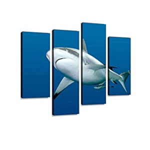 Shark with Remora Swimming Underwater Canvas Wall Art Hanging Paintings Modern Artwork Abstract Picture Prints Home Decoration Gift Unique Designed Framed 4 Panel