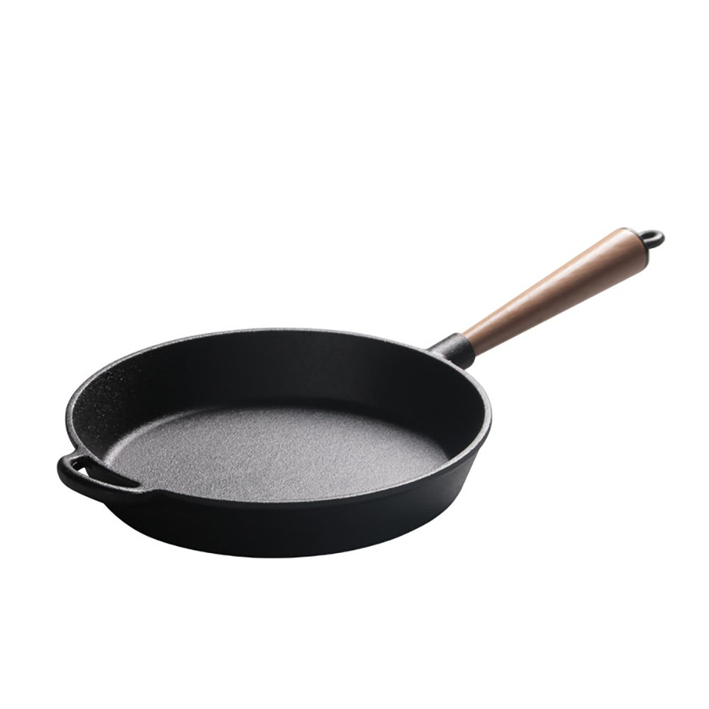 Pre-Seasoned Cast Iron Round Griddle Cast Iron Round Frying Pan Wooden Handle 10.5 Inch