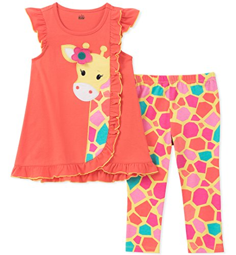 Kids Headquarters Little Girls' Tunic Set-Capsleeves, Coral/Print, 6