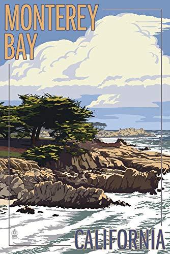 (Monterey Bay, California - Cypress Tree 97638 (9x12 Art Print, Wall Decor Travel Poster))