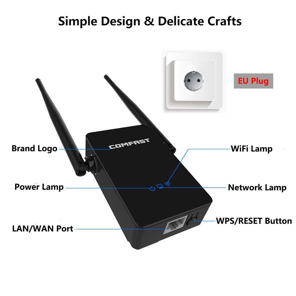 COMFAST Repetidor de red WiFi CF-WR302S 300Mbps Enrutador Inalámbrico 2.4G Wireless Extensor de Rango AP Amplificador de WiFi Booster Universal EU ...