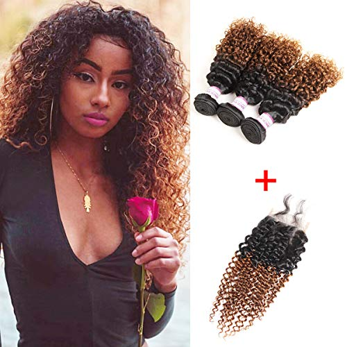 (Racily Hair 8A Ombre Brazilian Hair Jerry Curl 3 Bundles with Closure Ombre Black to Dark Brown Brazilian Kinky Curly Virgin Hair with Lace Closure (10