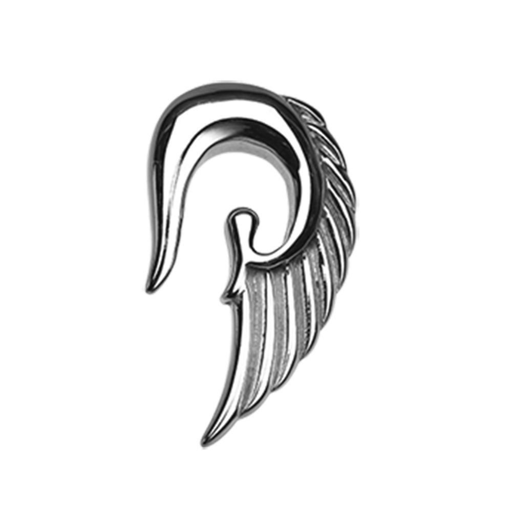 Inspiration Dezigns Fallen Angel Wing Steel Ear Gauge Hanging Tapers (Sold as a Pair) (6G)