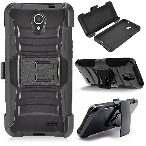 Armor Case for ZTE ZFive 2 LTE Z837VL Z836BL Dual Layer Impact Protection Kickstand Belt Clip Carrying Holster (Black) ()