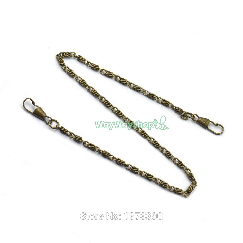 Buckes - 20 PCS Handbags Shoulder Strap Chain Purse Replacement Handle Pick 40cm 60cm 120cm Nickle Gold Bronze Black Choice - (Size: 120cm, Color: Nickle)
