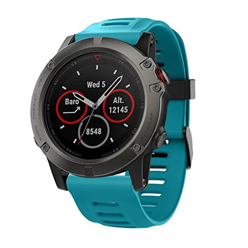 For Garmin Fenix 5X GPS Watch,GBSELL Soft Silicone Strap Replacement Watch Band With Tools (Blue) (Watchband For Garmin)