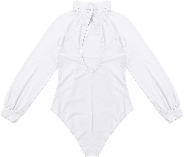 iixpin Women Adult Mock Neck Mesh Long Sleeves Cutout Back Ballet Dance Leotard Bodysuit Dancewear