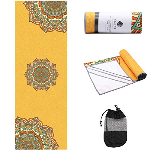 (Yoga Towel,Hot Yoga Mat Towel with Corner Pockets Design - Sweat Absorbent Non-Slip for Hot Yoga,Bikram and Pilates(Anchor Fit Corners,Mandara Yellow))