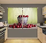Country Cherry Bucket Digital Graphic Printed Kitchen Curtain Panel Set or Dining Room Drapes European Design Window Covering Treatment Review