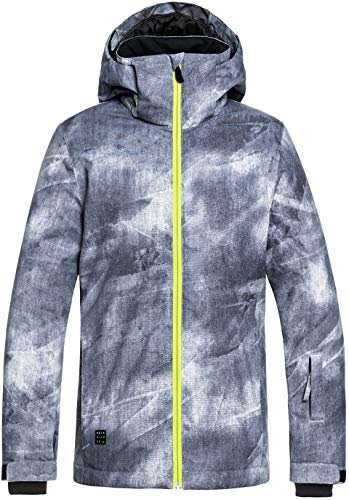 Quiksilver Boys' Big Mission Printed Youth 10K Snow Jacket, Grey Simple Texture, 10/M (Ski Pants Quiksilver)