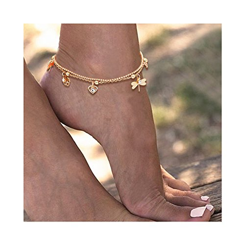 Dragonfly Gold Bracelets (Gudukt Beach Anklet Hollow Rose Love Heart Charms Ankle Bracelets For women girls Gold Tone)