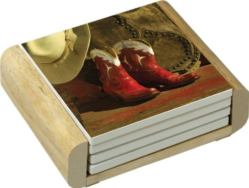 CounterArt Red Boots Design Absorbent Coasters in Wooden Holder Set of 4 Counter Art 84912