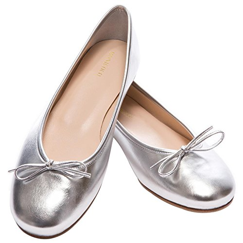 MONICOCO Übergröße Flache Damenschuhe Round Toe Bowknot Freizeit Geschlossene Ballerinas Silber Pu