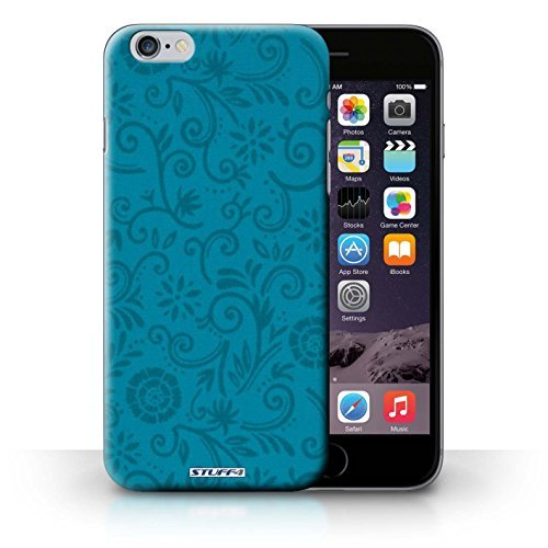 STUFF4 Phone Case / Cover for Apple iPhone 6S+/Plus / Blue Flower Design / Floral Swirl Pattern Collection (Floral Swirls Iphone)