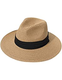 e5ac29aa57686 Women Straw Panama Hat Fedora Beach Sun Hat Wide Brim Straw Roll up Hat UPF  50
