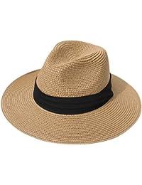 539f4abad0402 Women Straw Panama Hat Fedora Beach Sun Hat Wide Brim Straw Roll up Hat UPF  50