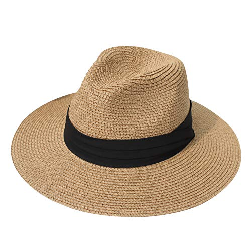 DRESHOW Women Straw Panama Hat Fedora Beach Sun Hat Wide Brim Straw Roll up Hat UPF 50+ (Havana Hat Women)