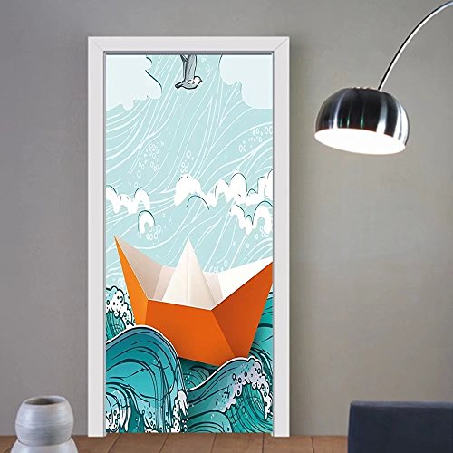 Gzhihine custom made 3d door stickers Ocean Navy Sealife with Waves and a Paper Sail Ship with Travel Quote Image Orange Sky Blue and White For Room Decor 30x79 by Gzhihine